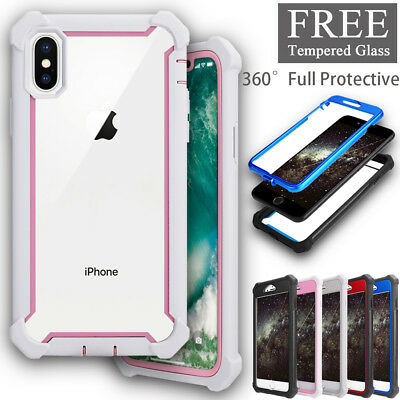 360 Full Body Protective Shockproof Hybrid Cover For iPhone X 6S 7 8 Plus Case