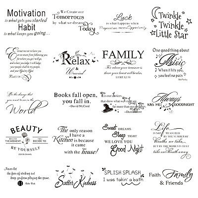 English Letter Words Self Adhesive Wall Stickers Removable Decal Bedroom Decor