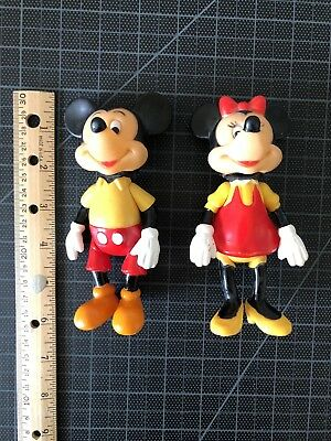Rare Vintage Posable Disney Mickey And Minnie Mouse Figures 1970s Hong Kong
