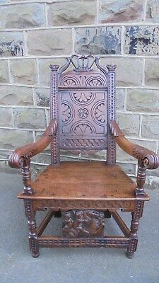 Good Early Carved Oak Wainscot Style Chair