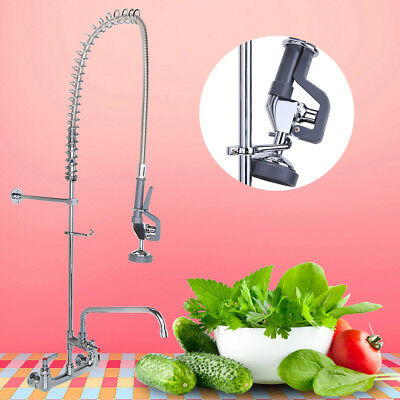 """Commercial Pre-Rinse Faucet Swivel with 12"""" Add-On Wall Mount Faucet 2 Holes"""