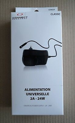 Alimentation universelle 2A / 24W  3-12V  6 connecteurs  CONNECT RESEARCH CEN024