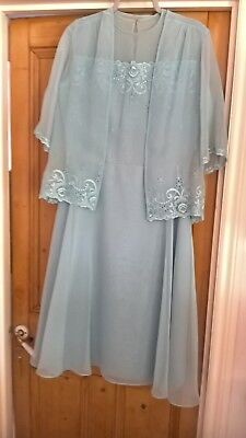 Vintage 1980s Clichy Dress and Jacket Powder Blue Size 14 Worn Once REDUCED!