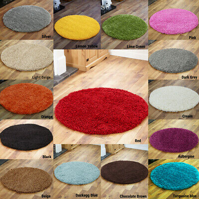 Small Medium Large Circle Non Shed New Modern Shaggy 5Cm Thick Area Round Rugs