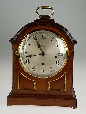 Mahogany cased westminster chimes bracket clock on coil gongs