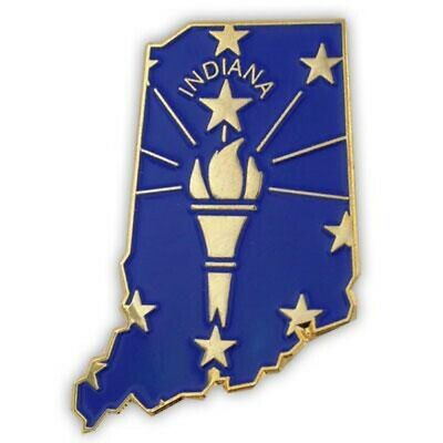 PinMart's State Shape of Indiana  and Indiana Flag Lapel Pin