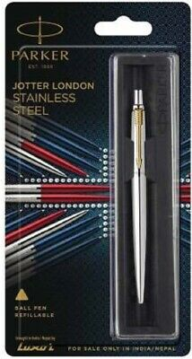 Parker Jotter Stainless Steel GT Ball point Pen Gold Trim New Blue Ink