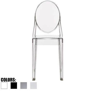 Modern Molded Transparent Plastic Side Dining Accent Chair Arm less Acrylic