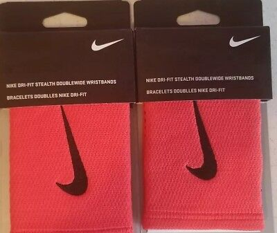 TWO NEW PAIR of Nike Dri-Fit Stealth Doublewide Wristbands Red & Black 4 total