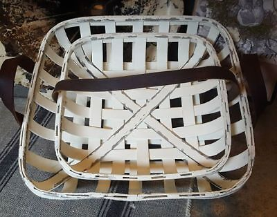 **LOT OF 2** PRIMITIVE WOODEN PAINTED WHITE TABACCO-LEAF BASKET w/LEATHER HANDLE