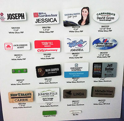 """1.75"""" X 4""""  Personalized Metal Name Tag Badge Customized  Full Color Printing"""