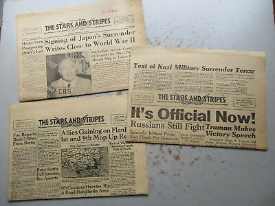 The Stars and Stripes US Army WWII N'pprs THREE 1945 Germany Edits., VE VJ More!