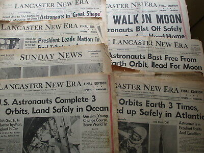 Lot of SEVEN Lancaster PA Newspapers - 1962 to 1969 US SPACE Headlines