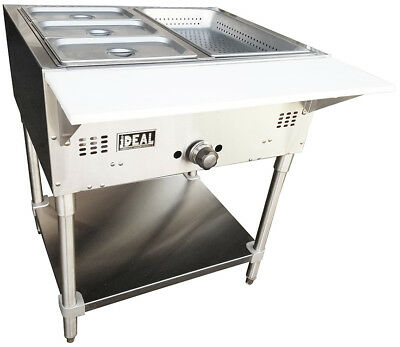 Commercial Gas 2 Well Bain Marie Steam Table. Made in USA by Ideal. ETL listed.