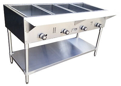 Commercial Gas 4 Well Aerohot Steam Table. Made in USA by Ideal. ETL listed.