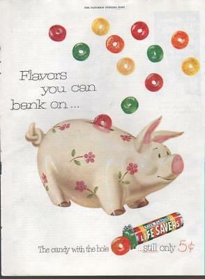 1952 Life Savers PRINT AD feat: Cute Piggy Bank Theme Colorful Candy Kid decor