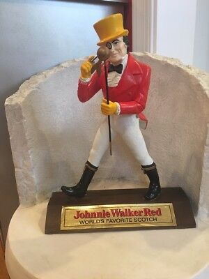 Vintage COLLECTIBLE JOHNNIE WALKER PLASTIC STATUE 13in on wood block BAR decor