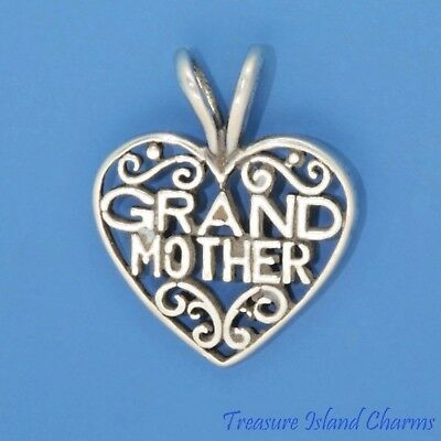 MOM Filigree Heart Mother .925 Solid Sterling Silver Charm MADE IN USA