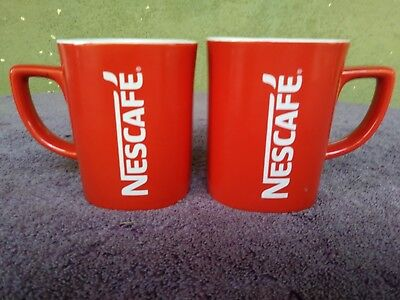 Nescafé Collectable Square Shaped Red Coffee Mugs Cups Nescafe 10 oz Set of 2