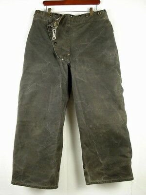 Vintage 50s Steel Grip Industrial Firefighter Turnout Fireman Black Duck Pants34