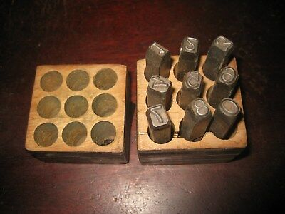 "Vintage Steel Number Punch Set 3/8"" Metal Die Stamps"