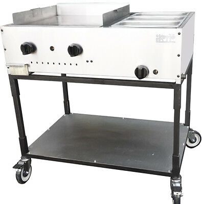 "New. Taco Cart. 36"" Flat Top 3/8"" thick Griddle plate with Steam. Made in USA."