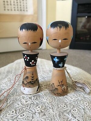 Rare 2 Vintage Japanese Kokeshi Wooden Doll Unique Face From Nara 奈良