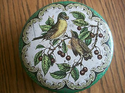 Vintage Daher Decorated Ware Tin Made In England Green With Bird Design