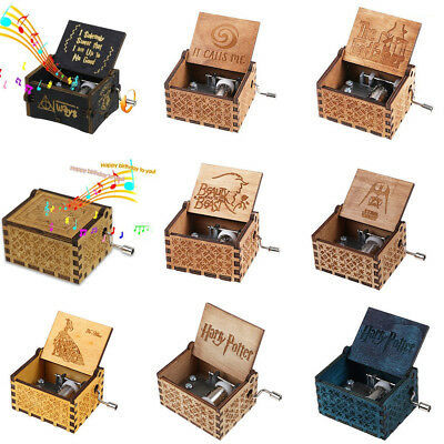 Wooden Music Box Harry Potter Game of Thrones Star Wars Engraved Toys Kids Gifts