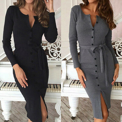 Chic Ladies Pencil Dress Buttons Down Club Evening Party Cocktail Bandage Dress