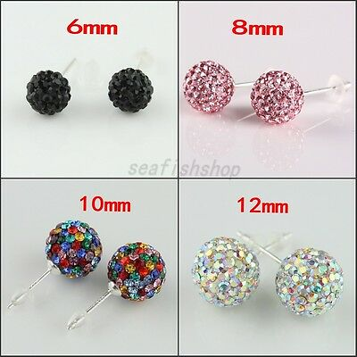 CZ Czech Crystal Round Disco Ball Silver Stud Sparkle Earrings 6mm 8mm 10mm 12mm