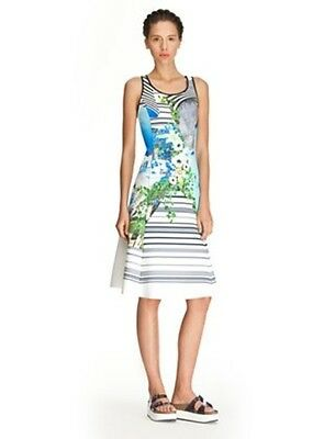 Clover Canyon Santorini Stripe Neoprene Dress size M White Blue Green
