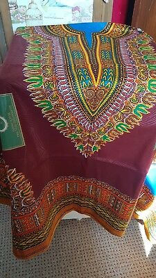 Beautiful Brown African Fabric Dashiki Wax with pattern & FREE POSTAGE