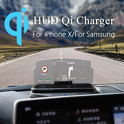Qi Wireless Charger Car  HUD Head Up Navigation Display Holder Charging Dock AG