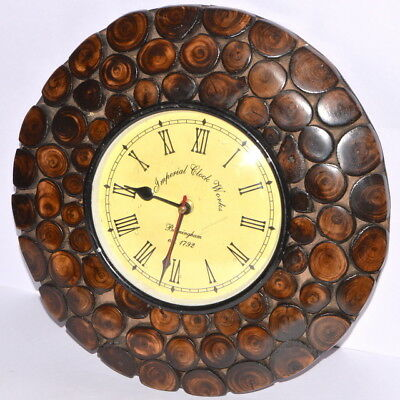 Unique Design Wooden 12 Inche Wall Clock for Wall Home Antique Decor Gift Item