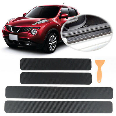 4x Car Door Sill Scuff Welcome Pedal Protect Accessories Carbon Fiber Sticker CZ
