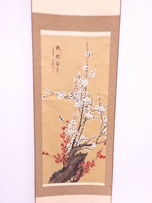3719668: Chinese Wall Hanging Scroll / Hand Painted / Red & White Ume Blossom