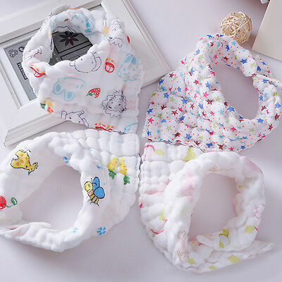 1X Kids Baby Boy Girl Bibs Cotton Gauze Saliva Towel Bibs Feeding Bandanas