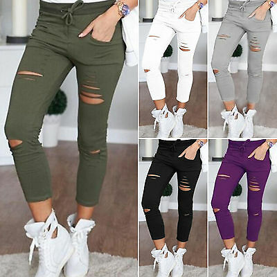 Womens Skinny Ripped High Waist Stretch Pencil Pants Casual Jeans Slim Trousers