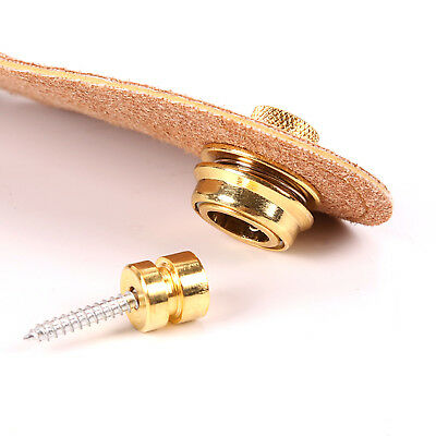 2pcs Gold Strap Locks Button Schaller Style for Guitar Bass Parts Round Head