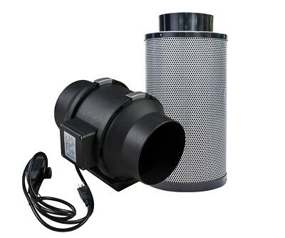 "4""/6""/8"" Inline Duct Fan with Air Carbon Filter Grow Tent Combo Speed Control"