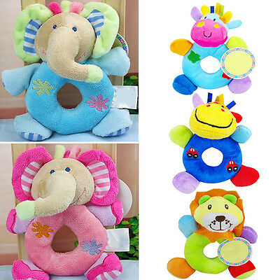 NE_ Baby Kid Child Plush Soft Stuffed Animal Hand Bell Wrist Rattle Educationa