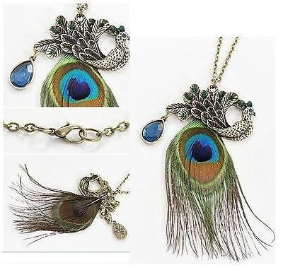Vintage Retro Art Deco Style Blue Eyes Peacock Long Feather Necklace Gift