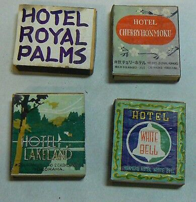 Vintage 1940's Japanese Matchbox group of 4-hotels and restaurants