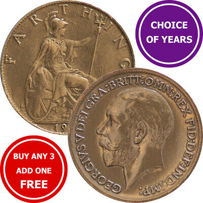 Farthing : 1911-1936 : George V : Britannia ¼d Coin : Choose Year