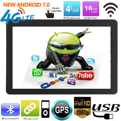 10.1'' 2DIN Android 7.0 Quad-core Bluetooth WiFi Car GPS Headrest Monitor Tablet