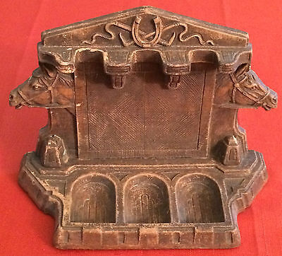Vintage 1920's ~ 1930's Syroco Wood 3 Pipe Stand Holder Horse Mantle~Table~Desk
