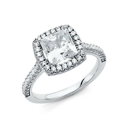 3.25 CT Halo Princess Cut Diamond Engagement Wedding Ring 14k Solid White Gold