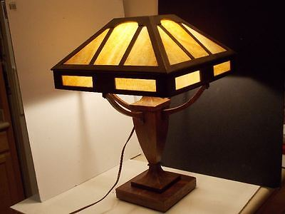 Rare Stickley Era Arts Crafts Table Lamp Mission Oak Craftsman Wood Slag Gl
