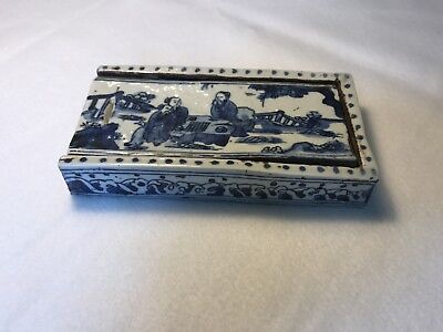 Antique Replica Chinese Blue And White Ink Box